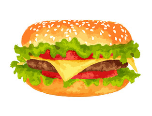 Big burger on white background