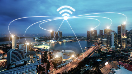 Singapore smart city and wifi communication network, smart city