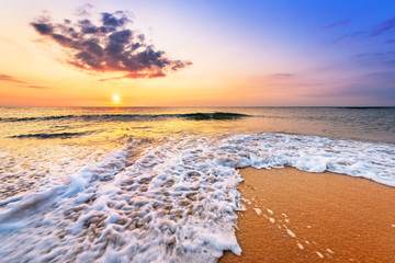 Tropical beach at beautiful sunrise. Nature background