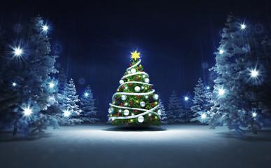 xmas tree in winter glittering magic woods