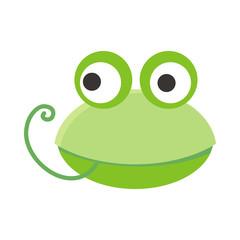 Frog Face Vector Illustration in Flat Design