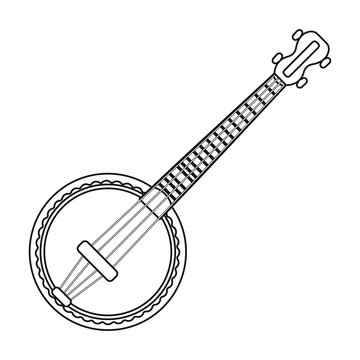 Banjo icon in outline style isolated on white background. Musical instruments symbol stock vector illustration