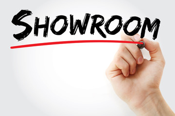Hand writing Showroom with marker, concept background