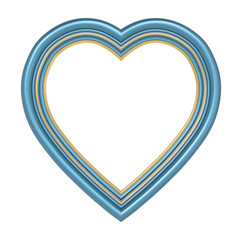 Blue gold heart picture frame isolated on white. 3D illustration.