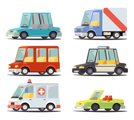 Transport Car Vehicle Icon Design Stylish Retro Cartoon Flat  Vector Illustration