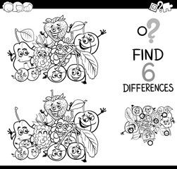 differences with fruits coloring page