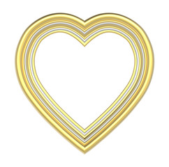 Gold silver heart picture frame isolated on white. 3D illustration.