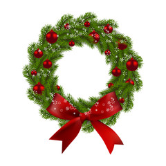 Christmas wreath. Green fir branches with red balls and bow on a white background. Christmas decorations. illustration