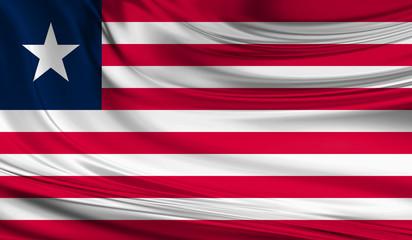 National waving flag of Liberia on a silk drape