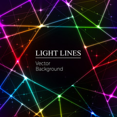 Colored  random laser beams on dark background. Place for your t
