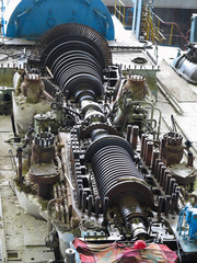 steam turbine in repair process, machinery, pipes, tubes, at pow