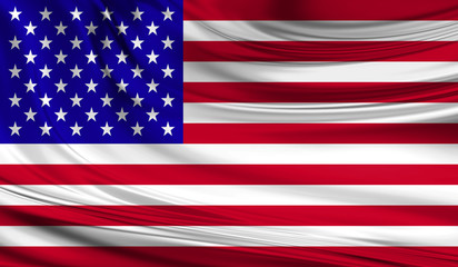 National waving flag of United State of America USA on a silk drape
