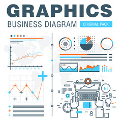 Business graphics of modern office industry. Thin line diagram concept. Statistic creative and infographics finance elements. Slim vector stroke pictogram for web design.