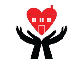 Hands holding house symbol with heart shape line icon. Vector illustration.