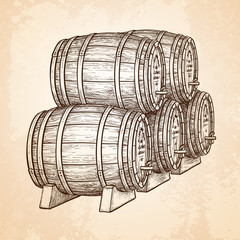 Wine or beer barrels.