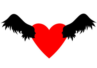 Winged hearts. Hearts with wings, sky with clouds.