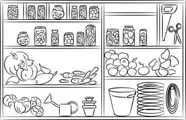 Sketch of shelves with fruits and vegetables