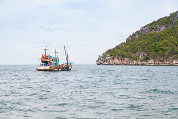 Fishing boat on gulf of Thailand, Surat Thani, Thailand.