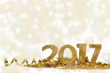 nouvel an 2017 dans confetti et ruban doré Fototapete