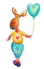 Christmas funny elk colorful watercolor illustrations. Funny character . Watercolor illustration elk portrait in a sweater with a heart, christmas print, happy christmas,Christmas balls
