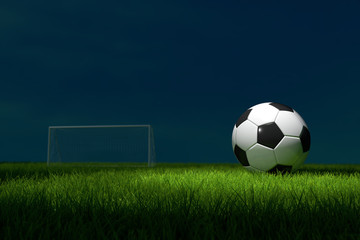 Soccer ball on the Field. 3D illustration