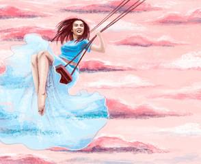 happy young woman  in blue dress swings