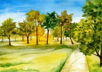 Foto op Canvas Meloen Hand drawn watercolor landscape. Early autumn, tree