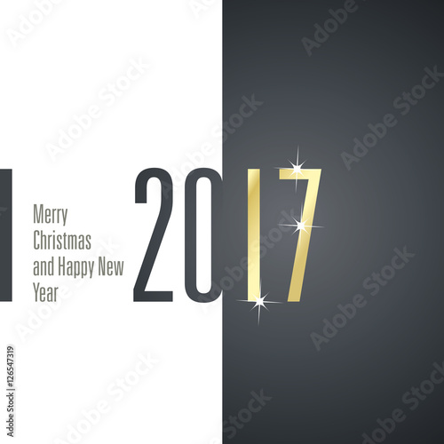 Merry Christmas Happy New Year 2017 Gold White Black Vector