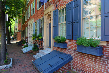 Historic Townhouse on Pine Street in old town Philadelphia, Pennsylvania, USA. Wall mural