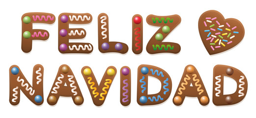 Feliz Navidad - Merry Christmas in spanish - written with gingerbread cake.