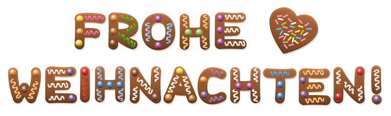 Merry Christmas in german language - Frohe Weihnachten - written with gingerbread cookies.