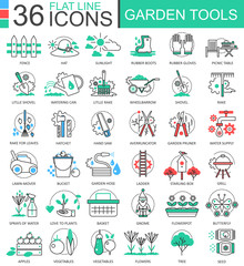 Vector Garden tools modern color flat line outline icons for apps and web design.
