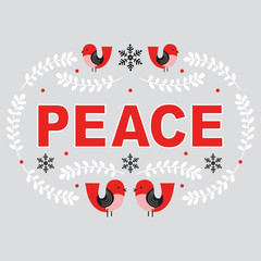 Christmas card with peace typography and red bird design