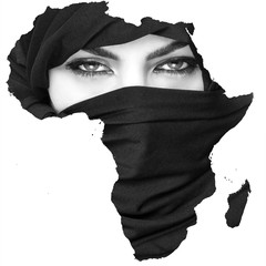 Monochrome double exposure of Africa silhouette and girl wearing burqa