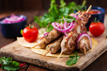 Canvas Prints Minced Lula kebab grilled turkey (chicken) with vegetables.