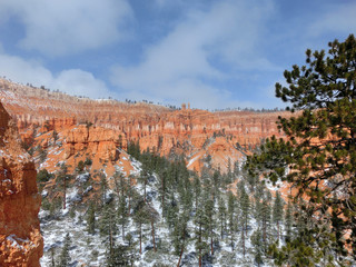 Bryce Canyon National Park with winter snow landscape