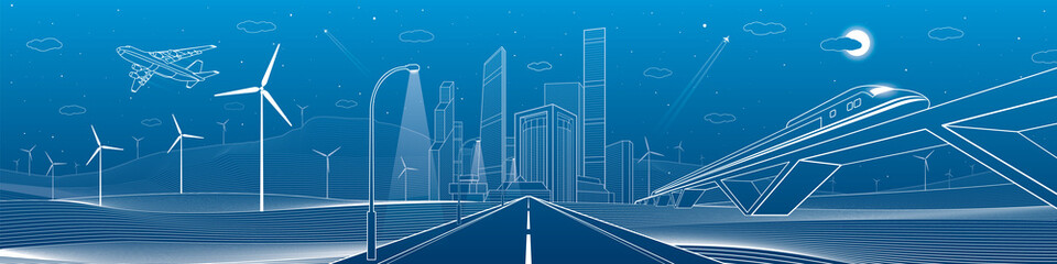 Infrastructure panorama. Highway, train traveling on bridges, business center, architecture and urban, neon city, wind turbines, white lines on blue background, dynamic scene, vector design art