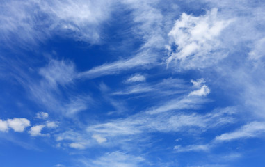 white summer clouds in blue sky