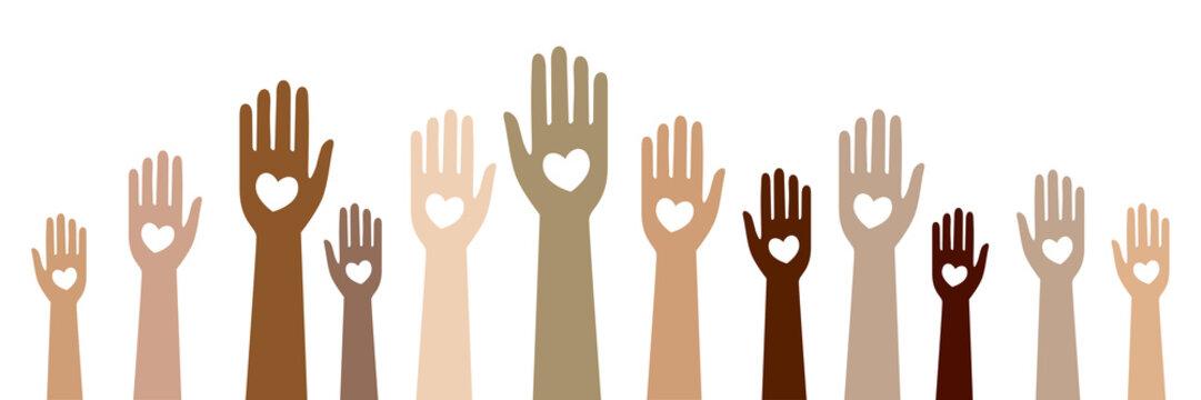 Hände mit Herzen - Zusammenhalt