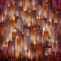 Vector aerial view night city background with glowing lights