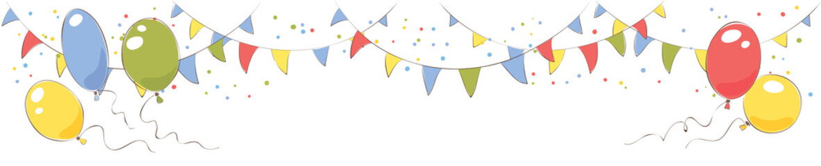 Festive banner with flags and balloons/ Vector illustration for holiday decorations