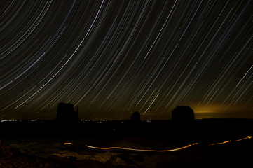 Star trails, Monument Valley,  USA