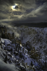 Grand Canyon in moonlight, Yellowstone National Park, USA