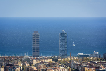 Twin towers of olympic disctrict in Barcelona