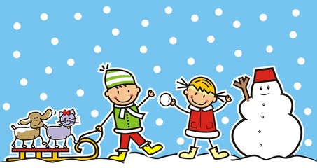 children and pets in winter