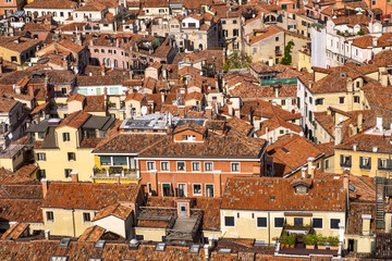 Venice aerial cityscape view with red tile roofs from San Marco Campanile. Venice, Italy.