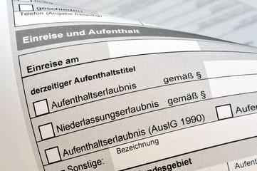 Antrag auf Einreise, Formular, Aufenthaltserlaubnis, Asyl, Visum, Deutschland, Asylrecht, Migranten, Einreise, Ausländer, Zuwanderung, Einbürgerung, Flüchtlinge