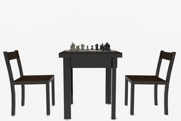 A chess game in front of an isolated background