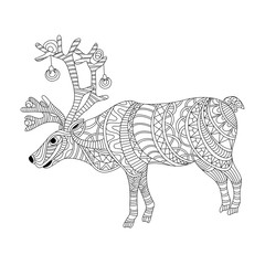 Reindeer coloring page in zentangle style