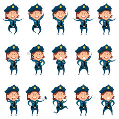 Set of police women flat icons